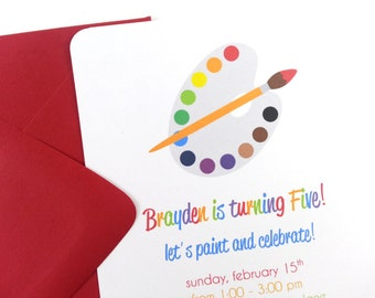 Art Party Invitations, Paint Party Invitations - SET OF 12