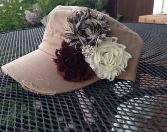 Women's Hat, Khaki hat, brown flower hat, cadet cap, military hat, womens cap, womens baseball hat, baseball cap, womens accessories, mom