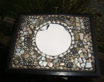 Mosaic Accent Mirror, Shell Chips, Silver Charms, Pearl Beads, Tiny Shells