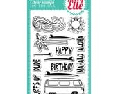 SALE Surf's Up Clear Stamp • Avery Elle Clear Stamp Set • Volkswagen Van Stamp • Surfing • Aloha • Happy Birthday Stamp • Summer • Clouds