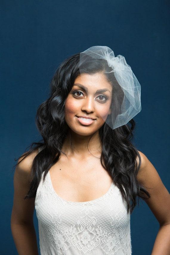 Silk Veil, Wedding Veil, Blusher Veil, Birdcage Veil, Silk Tulle Veil, Ivory Wedding Veil, Cage Veil, Face Veil, Simple Veil, Bridal Veil