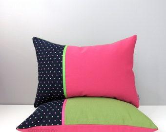 SALE - Set Hot Pink & Green Pillow Covers, Modern Outdoor Pillow Covers, Decorative Navy Blue Polka Dot, Girl's Nursery, Sunbrella Cushion