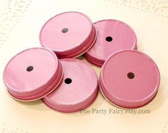 Mason Jar Straw Lids, 10 Pink Mason Jar Lids, Mason Straw Lids, Mason Jar Straw Lid, SPILL PROOF Jar Lids, Mason Jars, Wedding, Baby Shower
