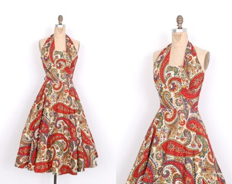 Vintage 1950s Dress / 50s Paisley Print Cotton Halter Dress / Red and Green (small S)