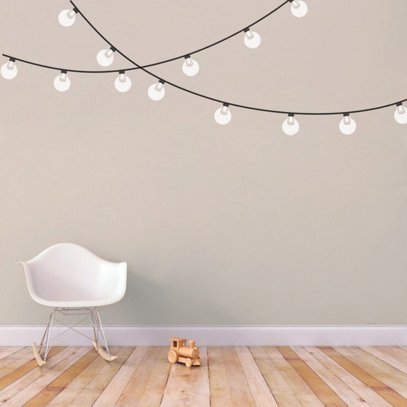 Drawstring Wall Lights : String Globe Lights Printed Wall Decal
