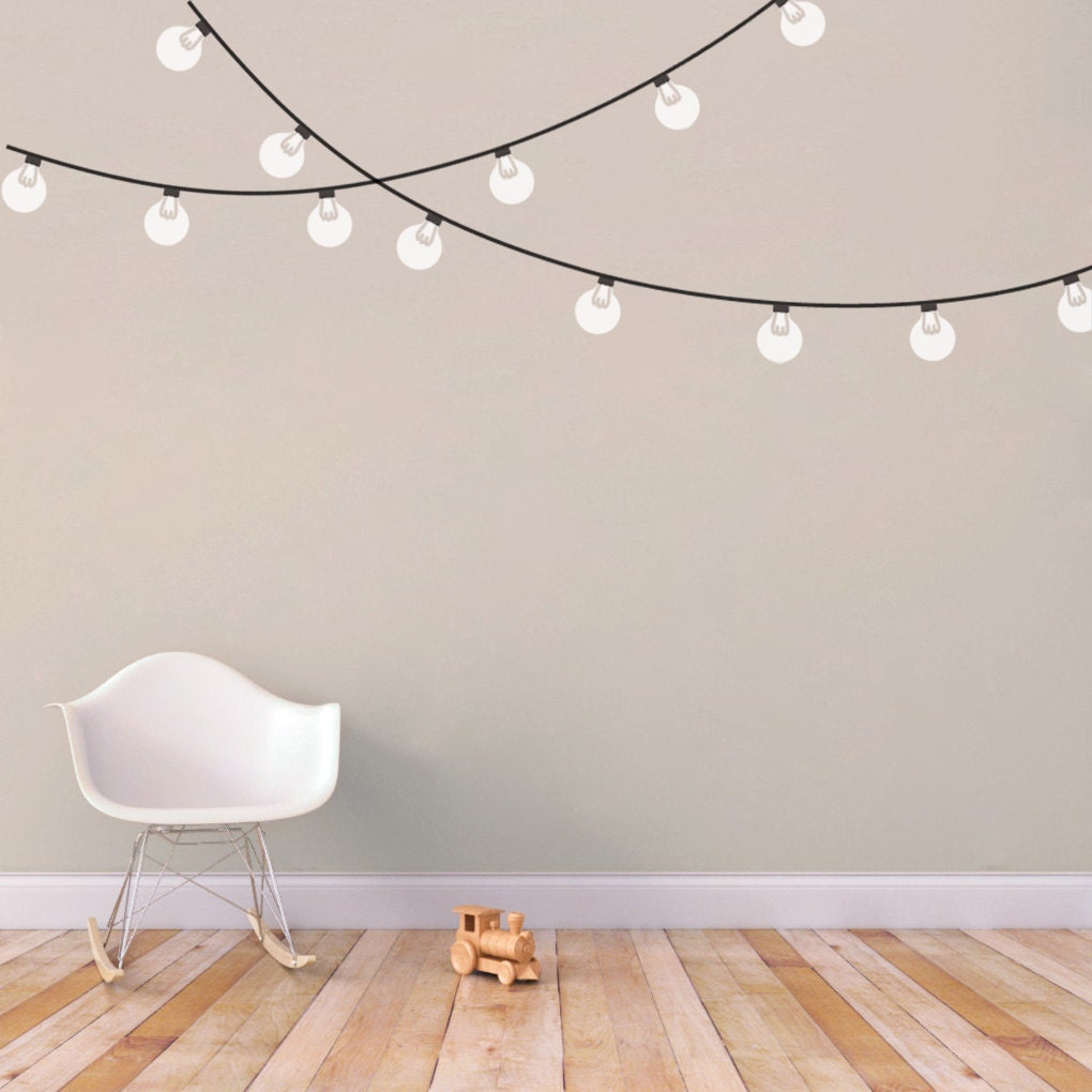 String Lights On Wall: String Globe Lights Printed Wall Decal By SweetumsSignatures