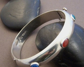 Estate Sterling Bangle Bracelet - Vintage Sterling Silver Hinged Bangle Gemstone Bracelet