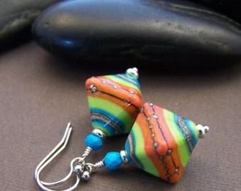 Summer Colors Earrings - Lampwork Glass Beads with Sterling Silver and Turquoise