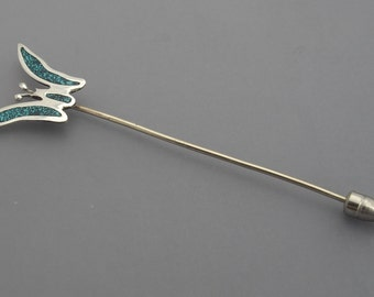 Turquoise Butterfly Stickpin, Turquoise Stickpin, Alpaca Stickpin, Mexico Stickpin, Insect Stickpin