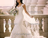 """Champagne Mantilla Cathedral veil with lace edge design with beads and sequins in full width of 90"""", Spanish veil for Catholic weddings"""