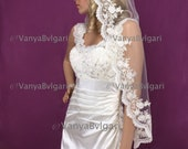 Custom order for elbow length veil Mantilla Spanish veil with scalloped lace edge design with beads and sequences