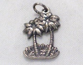 cute dainty palm tree Hawaii tropical beach theme bracelet charm or necklace pendant sterling silver