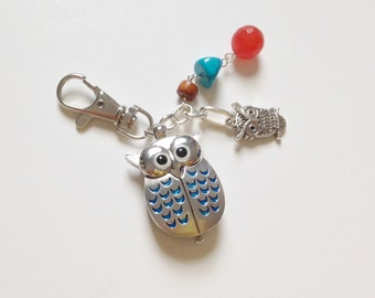 Owl Clock Keychain, Silver, Turquoise, and Red