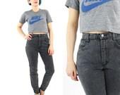 80s Black High Waist Skinny Jeans Black Acid Wash Mom Jeans Tapered Leg Ankle Zipper Jeans Slim Fit Petites Grunge Rocker Stretch Denim (XS)