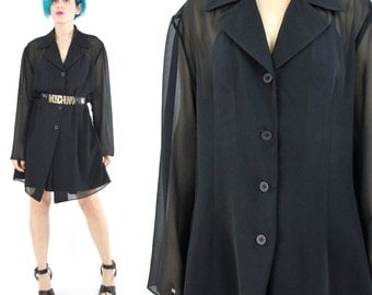90s Sheer Black Blouse Button Down Shirt Vintage Semi Sheer Blouse See Through Coverup Collared Dress Layering Goth Long Sleeve Top (L)