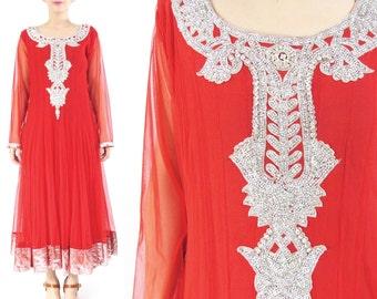 SALE Vintage Indian Wedding Dress Rhinestones Mesh Long Sleeves Red Dress Indian Sari Dress Ethnic Boho Metallic Silver Full Skirt Gown (L)