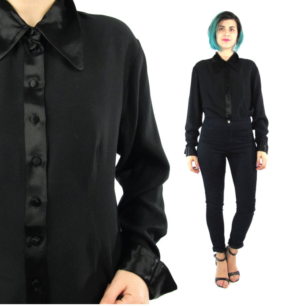 90s black pointed collar blouse long sleeve button down satin for Black silk button down shirt