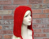 Red Hood, Red Hat, Winter Accessories, Red Winter Hat, Hood Hat, Teen Girl Clothes, Womens Hats, Crochet Hood, Crochet Hat, Gifts for Teen