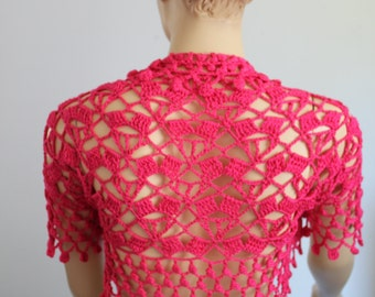 Lace Crochet  Cotton Hot  Pink  Shrug Bolero / Summer cardigan, jacket , Beach cloth -Ready to ship