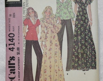 1974 Vintage McCall's  Sewing Pattern 4140 Empire Waist Dress or top Long or Short Sleeve Size 10 bust 32.5""