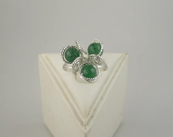 RI-0124 Aventurine Gemstone Ring, 3-Bead Flower, Green, Handmade Ring, Wire Wrapped in .925 Argentium Sterling Silver Wire
