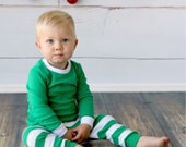 IN STOCK! Green Striped PJ's, Personalized with Name, Initials, Monogrammed Appliqued, Christmas Pajamas, Kids, Boys, Girls, Unisex