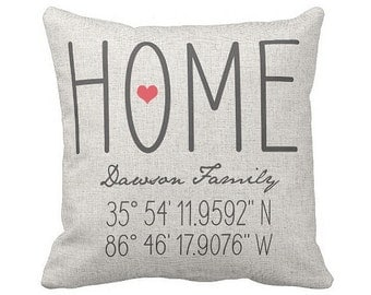Housewarming Gift, Wedding Gift, New Home Gift, Coordinates Pillow Cover, Longitude Latitude Family Name Pillow Cover