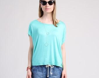Easy Summer Tee, Loose Summer Top, Oversized T-Shirt, Drop Shoulder Top, Aquamarine Top / Handmade Top - Aquamarine