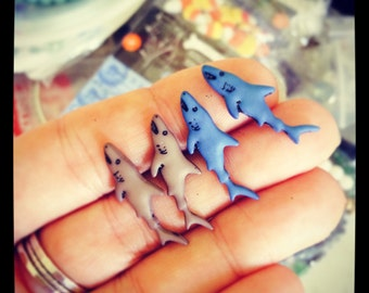 Shark Earrings, Jaws Earrings, Blue Sharks or Gray Sharks, Stainless Steel Studs, Animal Lovers, Great White Shark Week Vegan Fish Feel