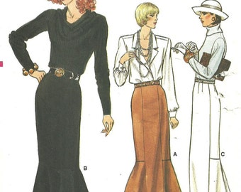 Vogue 9753 / Vintage Sewing Pattern / Fishtail Skirt / Size 6 8 10