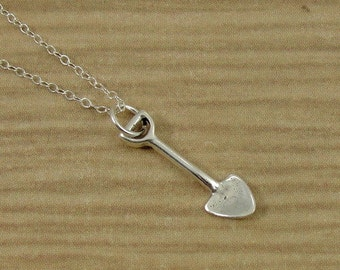 Tiny Garden Shovel Necklace, Sterling Silver Garden Shovel Charm on a Silver Cable Chain