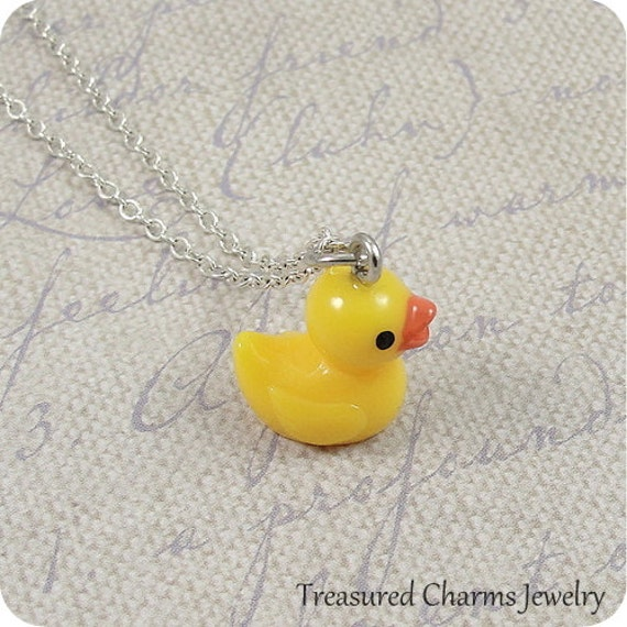 Rubber Ducky Charm Necklace, Yellow Rubber Ducky Charm on a Silver Plated Cable Chain