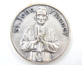 LARGE Saint John Vianney Cure d'ars Catholic Medal - Pocket Medals - Religious Coin - Prayer Medallion