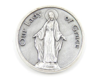 Our Lady of Grace Catholic Medal - Religious Medallion - Pocket Medallion - Safe Travel Virgin Mary