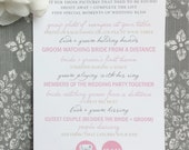 PRINTED Wedding Reception  I Spy Game with Hearts - Style G9 - OCTAVIA COLLECTION