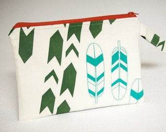 Chevrons and Feathers Fabric Wristlet Clutch, Small Screenprinted Zippered Clutch Handbag, Blue and Green Fabric Bag