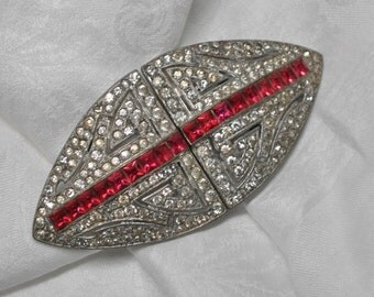 1930's Art Deco Pot Metal and Paste Belt Buckle Faux Rubies and Diamonds