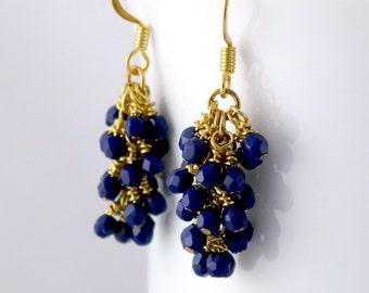 Dark Navy Blue Dangle Earrings, Gold Surgical Steel Earrings