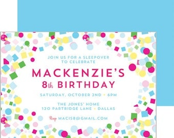 Colorful Confetti Birthday Party Invitation | Set of 20 Double-Sided Invitations