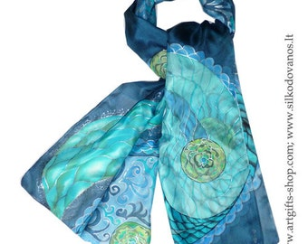 Hand painted Silk scarf in blue turquoise Jin&Jang