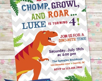 Dinosaur Invite, Dino Birthday Party, TRex Birthday Invite, Dinosaur Birthday, Stomp Chomp Growl and Roar, Printable Invite, T-Rex Birthday