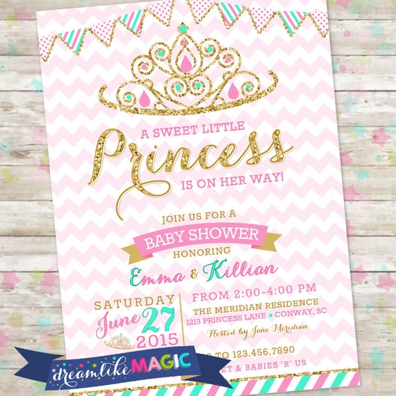 princess baby shower invitation royal princess invite pink and gold