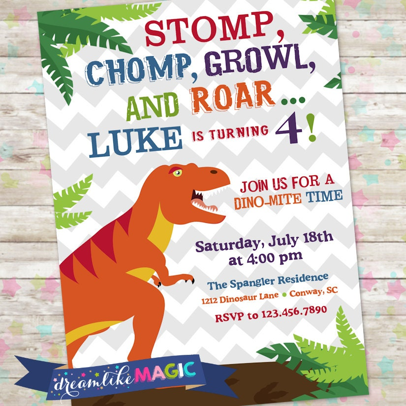 Dinosaur Invite Dino Birthday Party TRex Birthday Invite – Dinosaur Party Invitation Wording