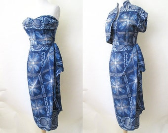 "Exotic 1950's Silk Designer Strapeless Sarong Hawaiian Dress w/ Matching Bolero by ""Royal Hawaiian"" Rockabilly VLV Pool Party  Size-Medium"