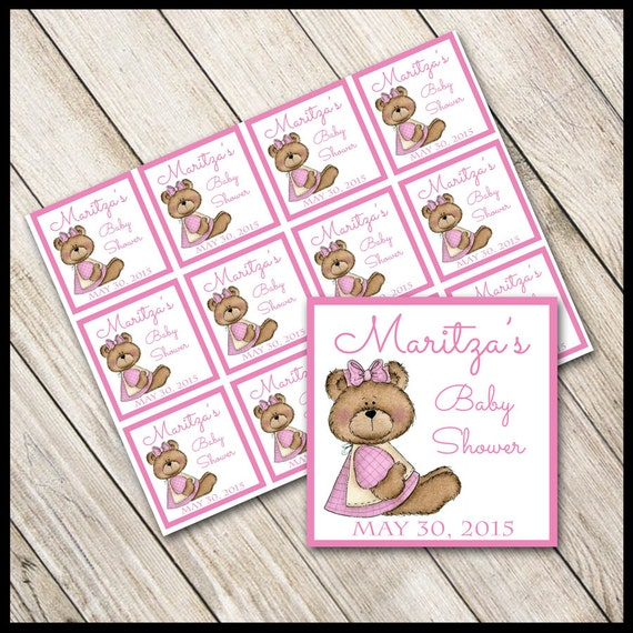 Pink Teddy Bear Baby Shower: Pink Teddy Bear Baby Shower Favor Tags / Personalized / DIY