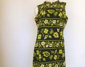 Vintage 1960s Shift Dress, Mod Flower Dress, Scooter Dress, Large, Black Sun Dress, Green Flowers