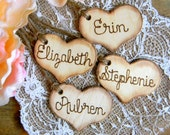 Add On Rustic Charm Wooden Hearts Wood Burned Engraved Bridal Party Hearts Bridesmaid Hearts Flower Girl Basket Heart Wedding Bouquet Heart