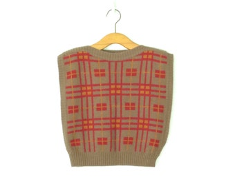 Vintage Pinafore Sweater * 80s Crop Top Shell * Cropped Knit Vest * Medium