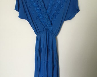 Ladies Blue Floral Embroidered Dress