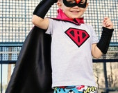 Fast Delivery - BOY Super Hero Cape PERSONALIZED 26 inch cape - YOUR Choice Letter and color - red and black cape
